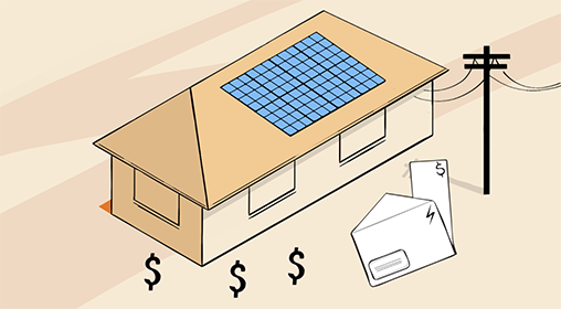 solar panel dollars illustration